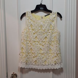 🛍️ Yellow tank top with lace overlay